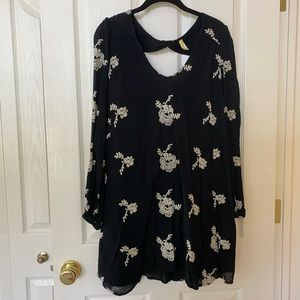 Free People Black and White Embroidered Dress